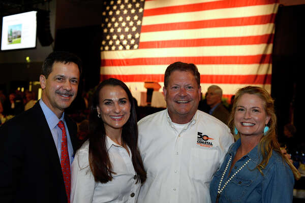 Joe Broussard, Johnnie Broussard, Chuck Mazoch and Barbara Nelson at the Texas Energy Museum's Blowout event at the Beaumont Civic Center on Thursday evening. Photo taken Thursday 3/23/17 Ryan Pelham/The Enterprise