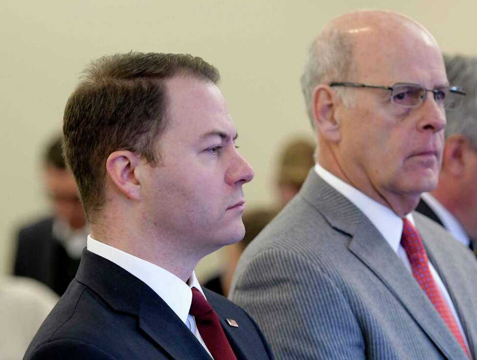 Senator Robert Ortt, left, with his attorney Steven Coffey, right, stands before Judge Peter Lynch for his arraignment in Albany County Court on three counts of offering a false instrument for filing in the first degree on Thursday, March 23, 2017, in Albany, N.Y. (Skip Dickstein/Times Union)