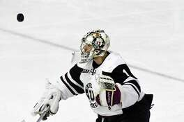 Union goaltender Alex Sakellaropoulos (1) makes a save against Princeton during the second period of a NCAA hockey quarterfinal game of the ECAC conference in Schenectady, N.Y., Saturday, March 11, 2017. (Hans Pennink / Special to the Times Union) ORG XMIT: HP112