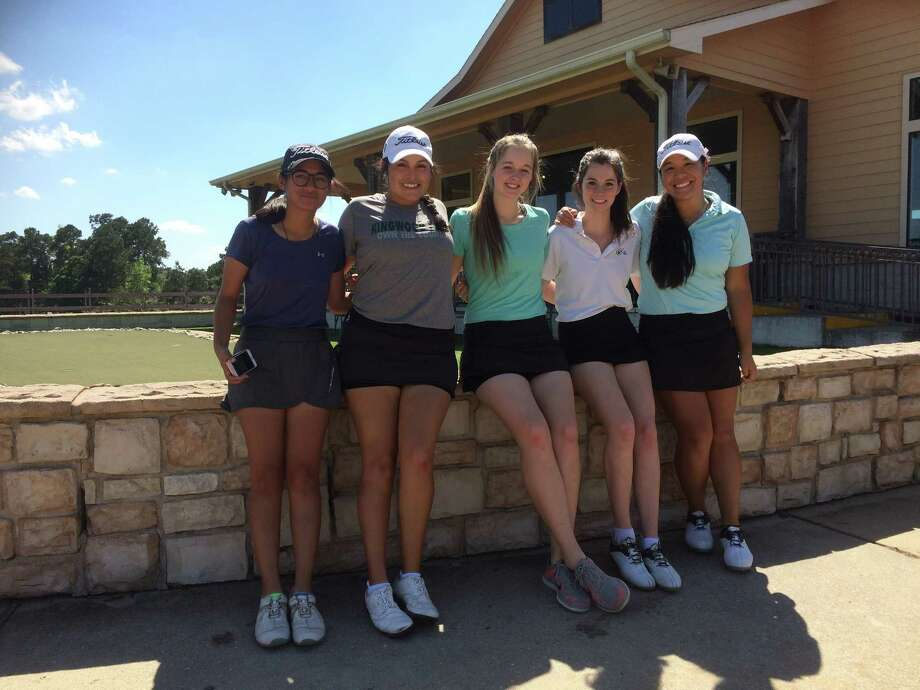 The Kingwood Park girls golf team of top five golfers at Oakhurst Golf Club. From left to right: Leah Alberto, Ariana Saenz, Erin SIlman, Rilea Ferguson, Elise Parel. Photo: Elliott Lapin