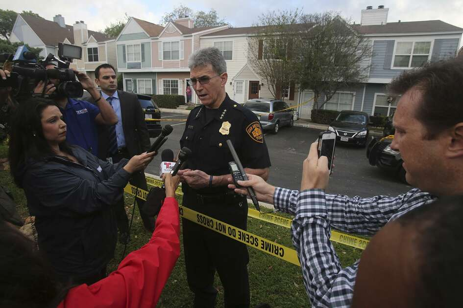 Police Chief William McManus speaks to the media Thursday March 23, 2017 at the scene of a double fatality on the 1800 block of Budding on San Antonio's North Side. McManus said a juvenile left the home to go to school and then returned to find both of his parents dead. Police received the call about 7:55 a.m. . Police said it appeared the couple was stabbed to death.