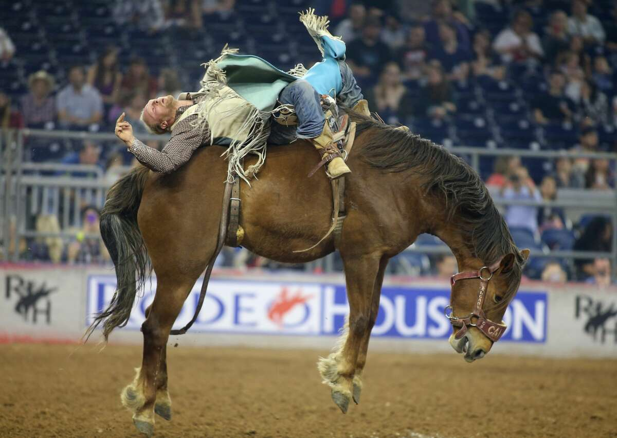 Tyler Nelson participates in the bareback riding at the Houston Livestock Show and Rodeo at NRG Stadium on Thursday, March 23, 2017, in Houston. ( J. Patric Schneider / For the Chronicle )