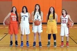Local athletes selected to Texas Association of Basketball Coaches All-Region teams include, from left, United's Natalia Treviño, Cigarroa's Gina Benavides, Alexander's Dannia González, Nixon's Kazzy Lazcano and Martin's Kaitlyn Roycroft.