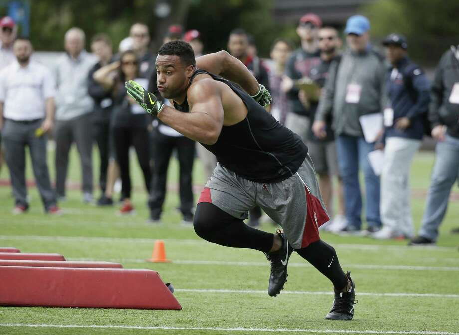 Stanford defensive end Solomon Thomas during NFL football pro day Thursday, March 23, 2017, in Stanford, Calif. (AP Photo/Eric Risberg) Photo: Eric Risberg / Associated Press / Copyright 2017 The Associated Press. All rights reserved.