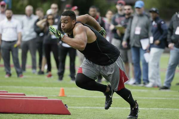 Stanford defensive end Solomon Thomas during NFL football pro day Thursday, March 23, 2017, in Stanford, Calif. (AP Photo/Eric Risberg)
