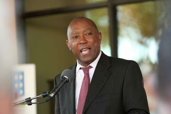City of Houston mayor Sylvester Turner speaks at the rededication ceremony for the Houston Heights Towers Thursday, March 23, 2017, in Houston. The 223-unit mid-rise residence serves low-to-moderate-income senior adults has been renovated with funding from the City of Houston Housing an d Community Development Department and the Community Bank of Texas.