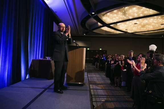 Gold Star father Khizr Khan, who rallied Hillary Clinton backers by pulling out the U.S. Constitution at last year's Democratic National Convention, thanks audience members after addressing the Asian American Bar Association of the Greater Bay Area.