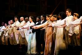 Cast of 'Hamilton' are recognized by the audience during the curtain call at Orpheum Theatre in San Francisco, Calif. Thursday, March 23, 2017.