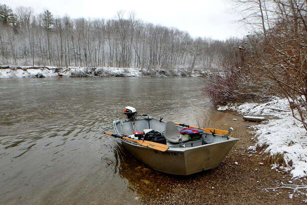 Steve Griffin | File photo for the Daily News The 'Grifter,' a 1984 Fish Rite river pram, pauses on a past season's fishing trip on the Manistee River.