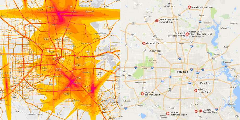 Map Shows Where Houstons Noisiest Areas Are Houston Chronicle - Houston airport terminal map