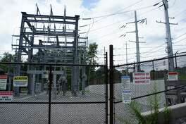 A view of Connecticut Light & Power's substation on New Creek Road, which stands across the street from the Green's Farms Metro-North train station.