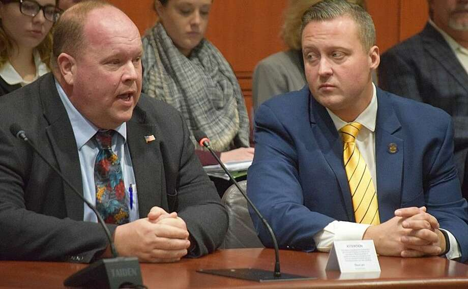 Patrick O'Hara, Monroe's former planning and zoning chairman, with state Rep. J.P. Sredzinski. Photo: / Submitted Photo