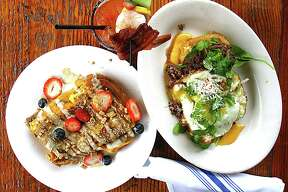 Dishes from the Sunday brunch menu at Grayze restaurant in San Antonio. From left: Cinnamon Toast Crunch French toast, a loaded bloody mary and barbacoa Benedict.