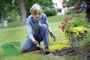 File photo of Jere Hollister, of Bridgewater, working on a garden with the Roxbury/ Bridgewater Garden Club.
