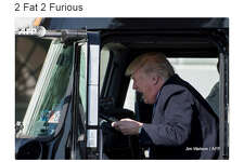 The Internet had a field day with a photo of Trump taken at a White House event held for truckers and industry CEOs. 
