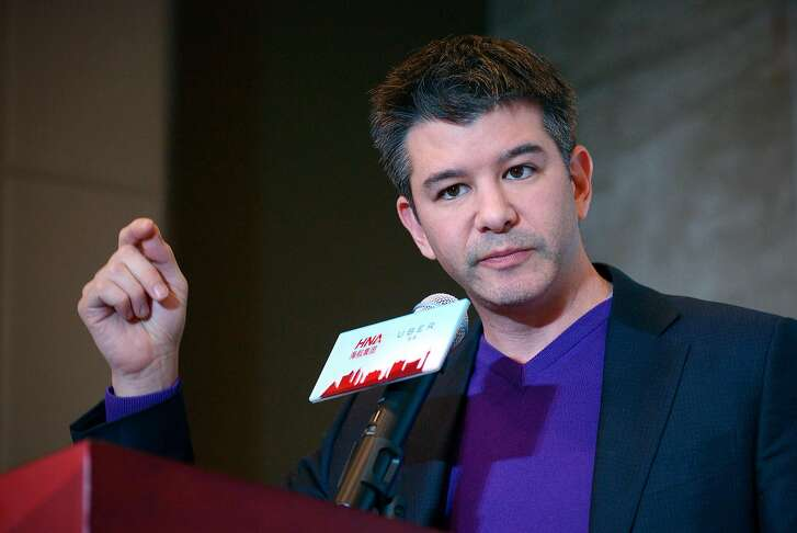 """(FILES) This file photo taken on January 11, 2016 shows Travis Kalanick, CEO of the global ridesharing service Uber, during a press conference in Beijing. Uber on March 7, 2017 began searching for a second-in-command to help embattled chief executive Travis Kalanick steady the wheel at the fast-growing on-demand ride service. """"This morning I told the Uber team that we're actively looking for a chief operating officer; a peer who can partner with me to write the next chapter in our journey,"""" Kalanick said in a statement.  / AFP PHOTO / WANG ZhaoWANG ZHAO/AFP/Getty Images"""