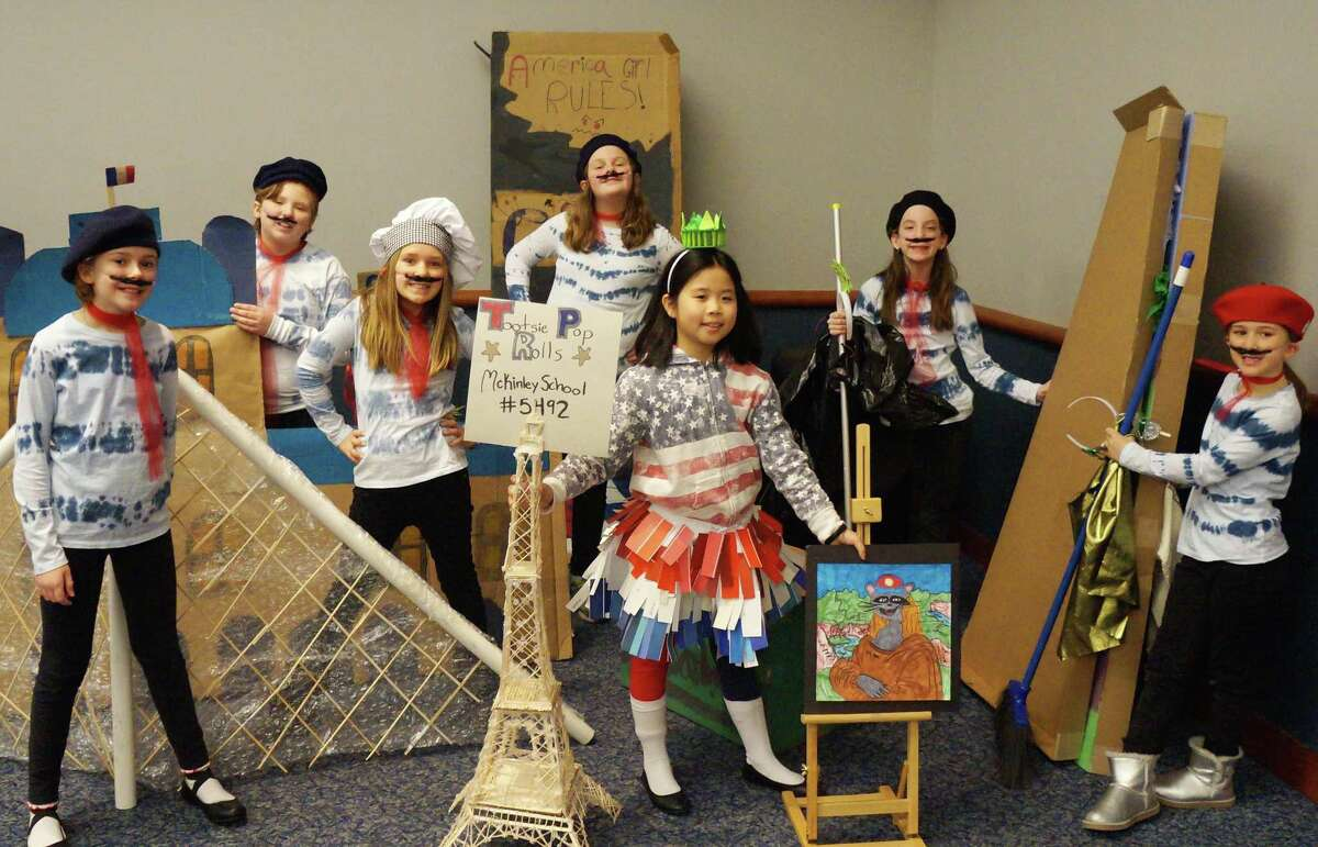"""A team from McKinley Elementary School tied for first place at regionals and has qualified for ?""""Odyssey of the Mind?"""" world finals in Michigan in May. From left: Olive Campbell, Andrew Fuller, Natalia Graceffa, Alexa Papageorge, Kayla Huynh, Meghan Socol and Mariella Graceffa."""