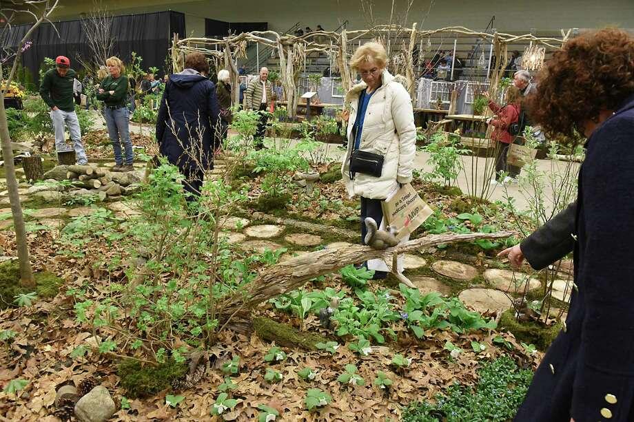 People walk around and enjoy displays at the Garden Show at Hudson Valley Community College on Friday, March 24, 2017 in Troy, N.Y. ( Lori Van Buren / Times Union) Photo: Lori Van Buren / 20040049A