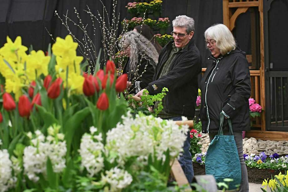 Jim and Vicki Kane of Pittsfield look at flowers at the Capital District Garden & Flower Show held at Hudson Valley Community College on Friday, March 24, 2017 in Troy, N.Y. ( Lori Van Buren / Times Union) Photo: Lori Van Buren / 20040049A