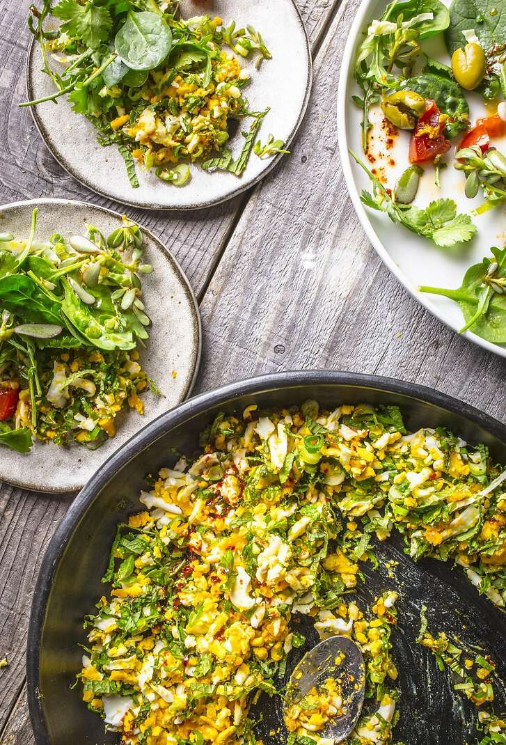 """The egg and mint salad from """"Unforgettable: The Bold Flavors of Paula Wolfert's Renegade Life"""" by Emily Kaiser Thelin (Mortar & Pestle; 336 pages; $35)"""