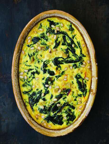 """Chard & Saffron Flan in an Almond Crust from Deborah Madison's new cookbook, """"In My Kitchen: A Collection of New and Favorite Vegetarian Recipes"""" (Ten Speed Press; 296 pages; $32.50) Photo: Sarah Fritsche, Photo Credit: Erin Scott; Courtesy Of Ten Speed Books"""