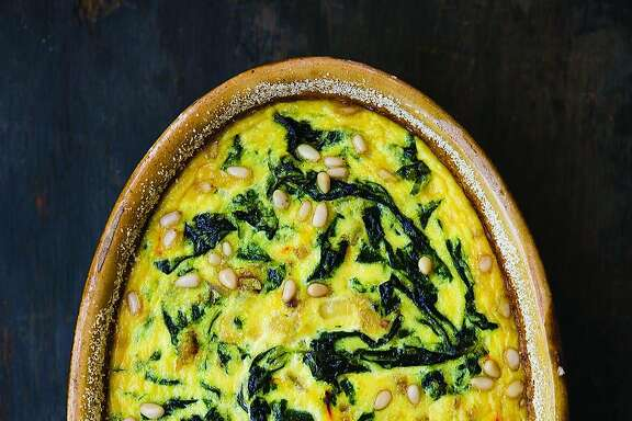 """Chard & Saffron Flan in an Almond Crust from Deborah Madison's new cookbook, """"In My Kitchen: A Collection of New and Favorite Vegetarian Recipes"""" (Ten Speed Press; 296 pages; $32.50)"""