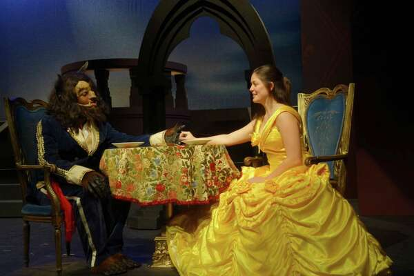 """""""Beauty and the Beast"""" is on stage at The Kweskin Theatre in Stamford, Friday, March 31, through, Saturday, April 29. Seen here are Kevin Thompson as the Beast, and Liz Harrington as Belle."""