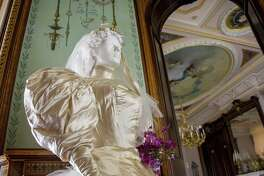 "On Wednesday, April 5, the Lockwood-Mathews Mansion Museum will open its 2017 season with a new exhibition, ""Wedding Traditions and Fashion from the 1860s to the 1930s."" Florence Lockwood's ""Ivory Satin Gown,"" 1894, was considered among the most fashionable of the wedding season in San Francisco, Calif."