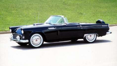 "The 312-cubic-inch engine of the black 1956 Thunderbird was overhauled so it could once more generate 225 horsepower. The Fordomatic transmission and rear axle were overhauled, too, returning to ""like new"" condition."