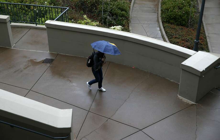 A student walks through the Haas School of Business in a rainstorm at UC Berkeley on Friday, March 24, 2017. Photo: Paul Chinn, The Chronicle