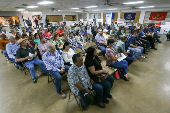 A large group of citizens turned out for a community meeting at VFW Post 6970 in Poteet on Thursday, March 23, 2017 to discuss Pennsylvania based Preferred Sands plans to create a mine and plant that could process 300-400 tons of sand per hour. The company decided to move the location of the mine to appease residents.