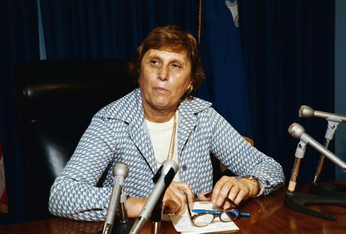 (Original Caption) Close-up of Mrs. Ella T. Grasso, Governor of Connecticut, in her office. Slide shows her seated behind her desk. Undated color slide.