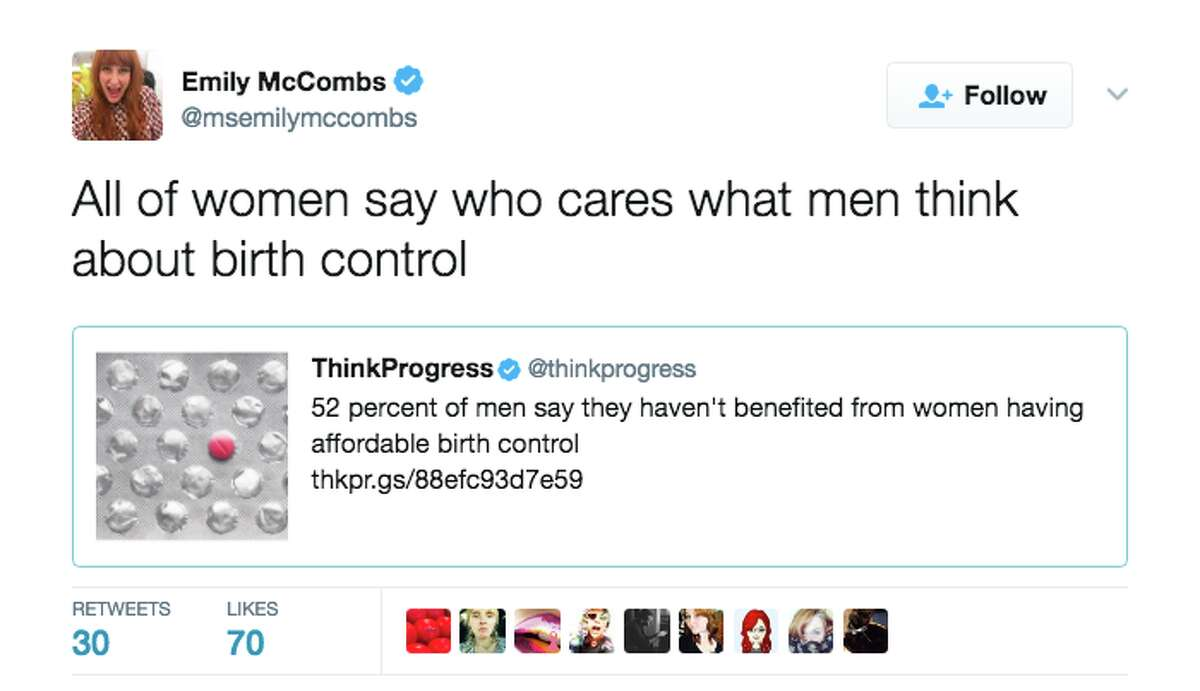 Twitter responds to survey results stating that 52 percent of men believe affordable birth control for women has never benefited them.