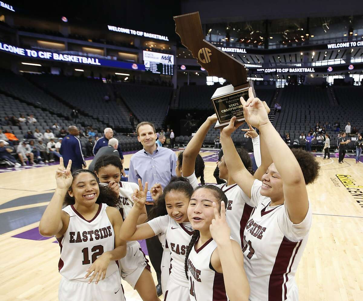 Eastside College Prep celebrate after beating Rolling Hills Prep 63-40 in the girls CIF division V high school basketball championship game, Friday, March 24, 2017, in Sacramento, Calif. (AP Photo/Rich Pedroncelli)