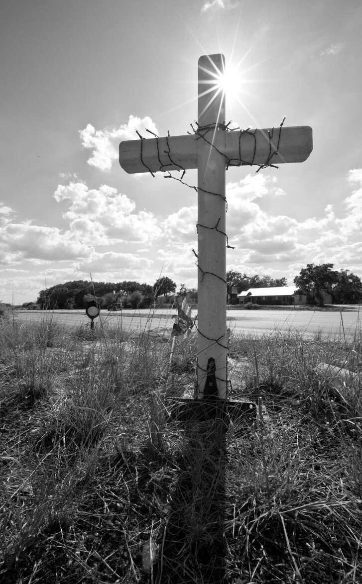 "from ""Vanishing Points: Poems and Photographs of Texas Roadside Memorials,"" edited by Sarah Cortez"