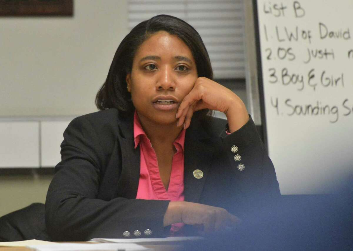 Councilwoman Faye Bowman asks the audience for public comment during the Health, Welfare, and Public Safety Committee of Common Council during during a discussion of the city's pursuit policy and community feedback process with police on Thursday March 23, 2017 in Norwalk Conn.