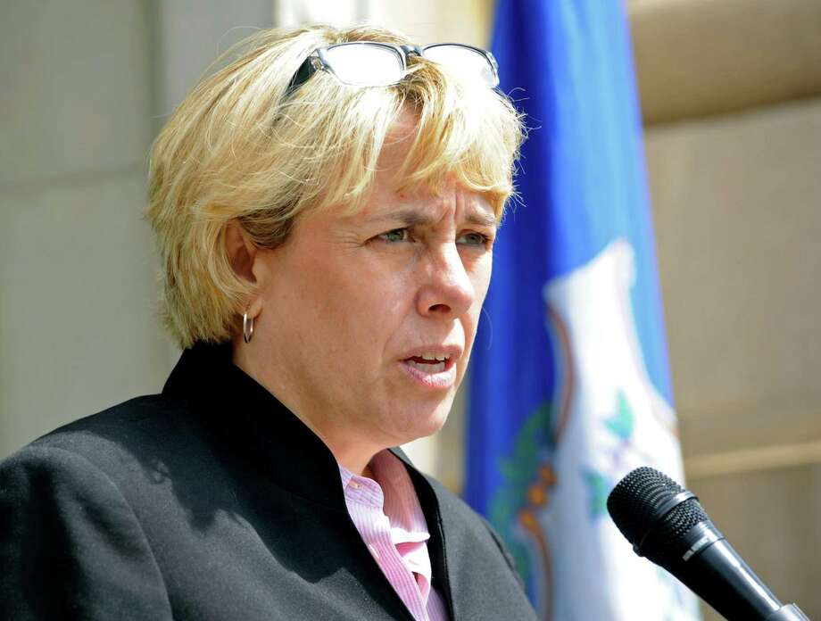 Lori Pelletier, president of the state AFL-CIO, on Friday blasted Republican proposals to surrender collective bargaining rights. Photo: Cathy Zuraw / Hearst Connecticut Media / Connecticut Post
