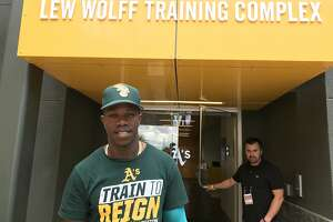 Lazarito Armenteros, 17, is in his first minor-league camp with the A's this spring.
