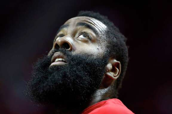 Houston Rockets guard James Harden (13) looks up at the basket during the first half of an NBA basketball game, Monday, March 20, 2017, at the Toyota Center, in Houston.  ( Karen Warren / Houston Chronicle )