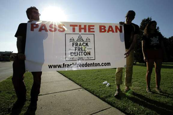"""Denton's approval of a ban on fracking sparked a statewide debate on """"local control,"""" a concept one likes or dislikes depending on that person's view of the issue being addressed. Here, Denton residents outside City Chall support  the ban in 2014. The ban resulted in state legislation pre-empting it."""