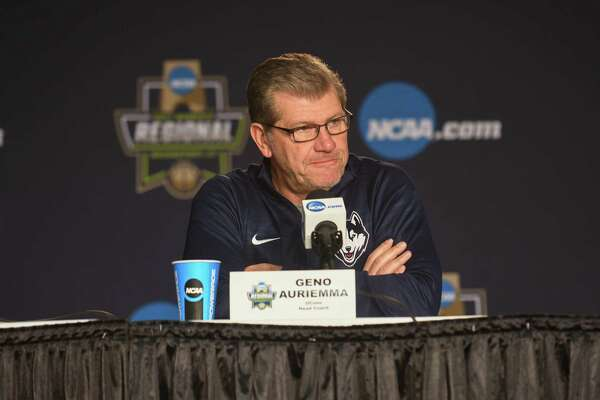 Geno Auriemma, Head Coach of the Uconn Huskies, addresses the media during a press conference at Webster Bank Arena on March 24, 2017 in Bridgeport, Connecticut.