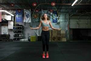 Houston Texans Cheerleader Olivia W. jumps rope as she works out on Thursday, March 16, 2017, in Houston. ( Brett Coomer / Houston Chronicle )