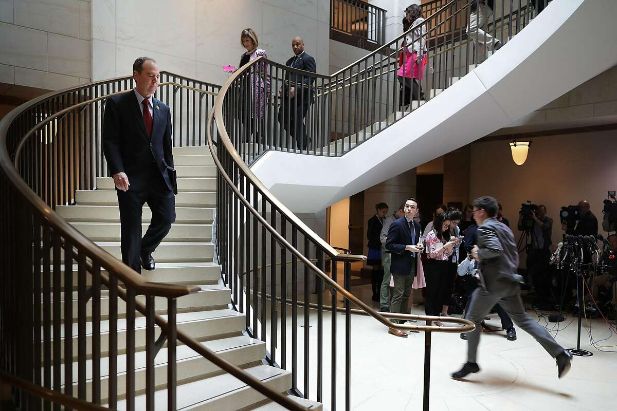 WASHINGTON, DC - MARCH 24: House Select Committee on Intelligence ranking member Rep. Adam Schiff (D-CA) (L) and fellow Democratic members of the committee arrive for a briefing with reporters in the Capitol Visitors Center March 24, 2017 in Washington, DC. Committee Chairman Devin Nunes (R-CA) earlier announced that former Trump campaign director Paul Manafort has offered to testify before the committee and that FBI Director James Comey and NSA Director Mike Rogers will testify again to the committee behind closed doors next week. (Photo by Chip Somodevilla/Getty Images)