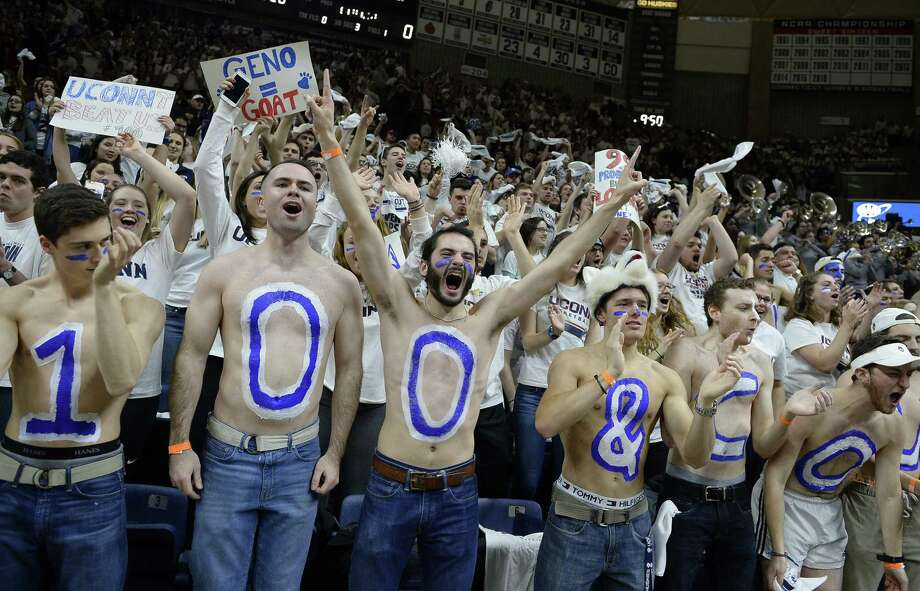 UConn students cheer as the team is introduced before an NCAA college basketball game against South Carolina, Monday, Feb. 13, 2017, in Storrs, Conn. Photo: Jessica Hill / Associated Press / AP2017