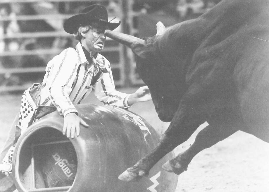 A rodeo clown takes a horn to the face during the bull riding competition at the YMBL rodeo. Photo: Enterprise Staff Photo