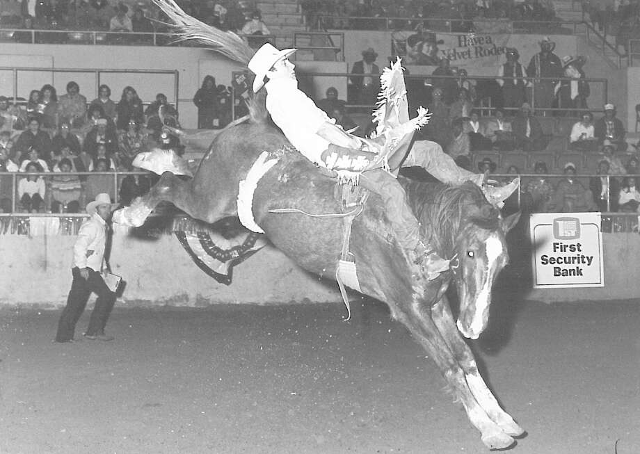 Monk Dishman rides at the 1982 YMBL rodeo. Photo: Enterprise Staff Photo