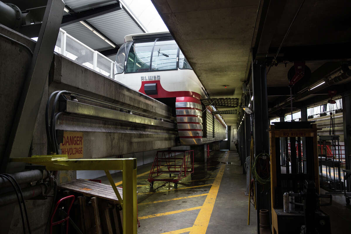 The red monorail train sits for the day, seen from below during a tour of the train and its service center in celebration of 55 years of service, at Seattle Center, on Friday, March 24, 2017.