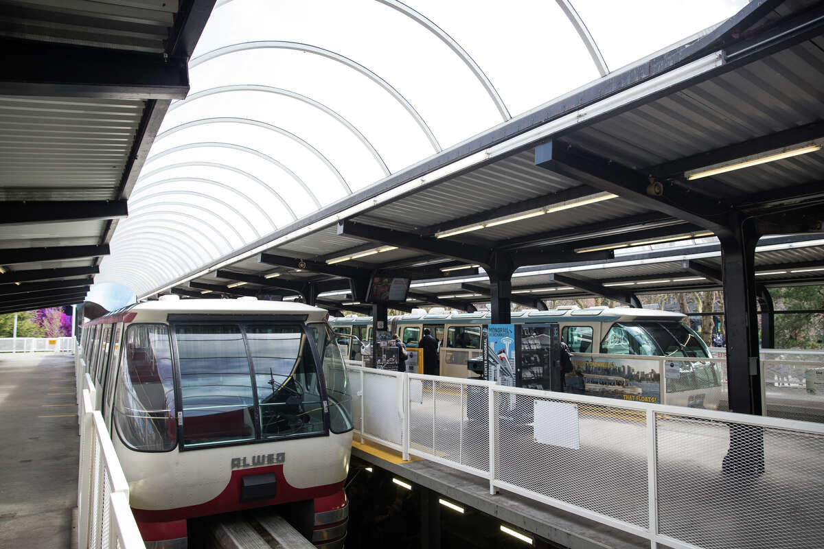 Both monorail cars sit in their station at the Seattle Center before a tour in celebration of 55 years of service, on Friday, March 24, 2017.