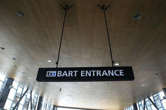 Acoustic panels line the ceiling of the canopy to absorb noise inside the Warm Springs BART station in Fremont, Calif. on Wednesday, March 22, 2017. The new station in south Fremont opened for revenue service on Saturday after years of delays.