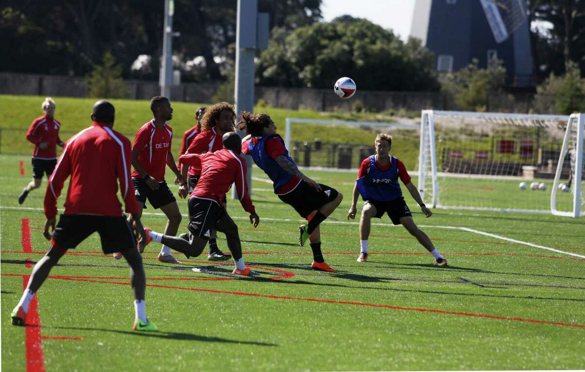 Members of the new professional soccer team, the SF Deltas, practice at the Beach Chalet soccer fields on Friday, March 17, 2017, in San Francisco, Calif.